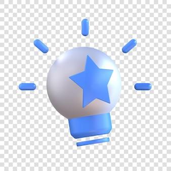 3dレンダリングのアイデアアイコン、真ん中に星が付いた電球