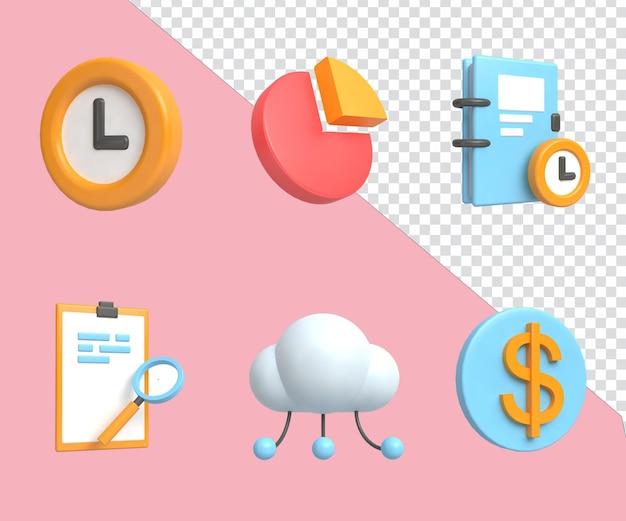 3d 렌더링 그림 아이콘 세트 디지털 마케팅