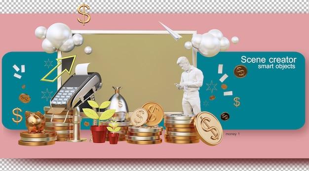 돈과 경제 개념으로 생활하는 3d 렌더링 그림