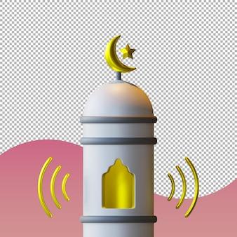 모스크의 미나렛에서기도하는 전화의 3d 렌더링 그림