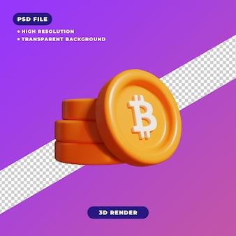 ビットコインアイコンの3dレンダリングイラスト