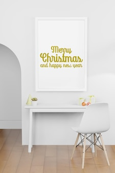 크리스마스 새 해 테마의 현대적인 인테리어 배경에서 프레임 포스터 모형의 3d 렌더링 그림