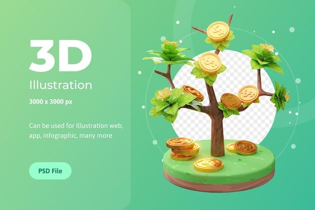 3d-рендеринг иллюстрации растущего бизнеса, с деревом и монетой, используется для интернета, приложений и т. д.