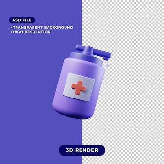手指消毒剤アイコンの3dレンダリングイラスト