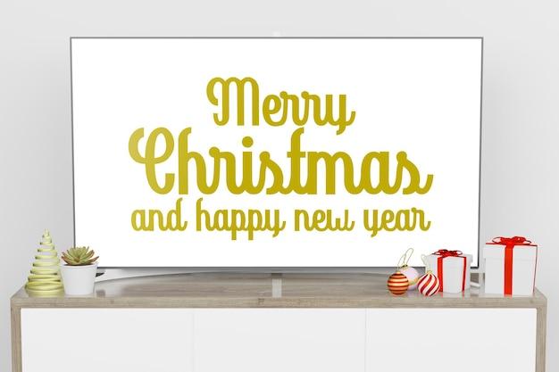 크리스마스 새해 테마의 현대적인 인테리어 배경에서 lcd tv 화면 모형의 3d 렌더링 그림