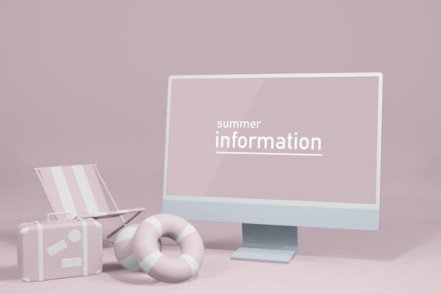 夏のモックアップ ラップトップ コンピューターの表示ショーケースの 3 d レンダリング図