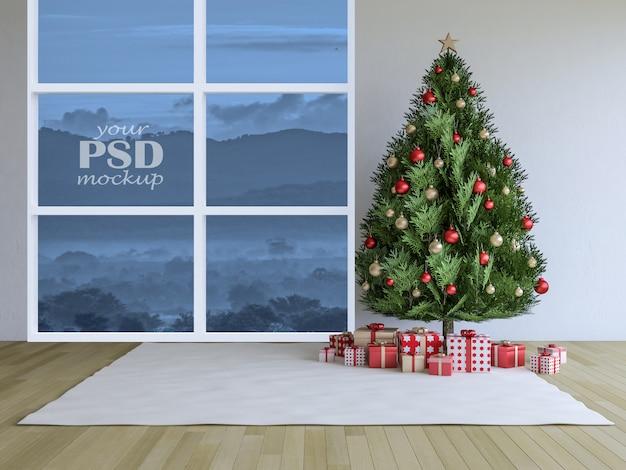 3d rendering image of interior design in christmas festival