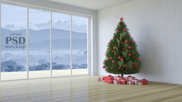 3d rendering image of interior design in christmas festival