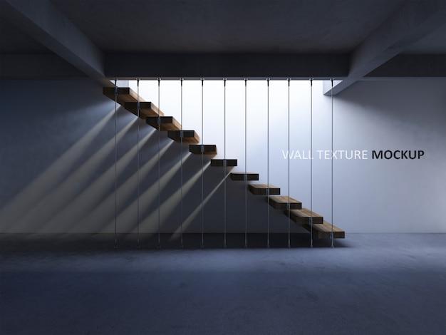 Изображение рендеринга 3d конкретной лестницы с тенью на стене