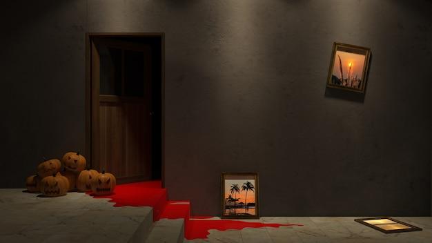 벽에 froor 및 사진 프레임 이랑에 호박 머리의 3d 렌더링 이미지.