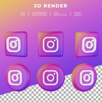 分離された3dレンダリングinstagramのロゴ