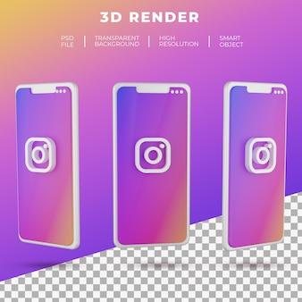 分離されたスマートフォンの3dレンダリングinstagramのロゴ