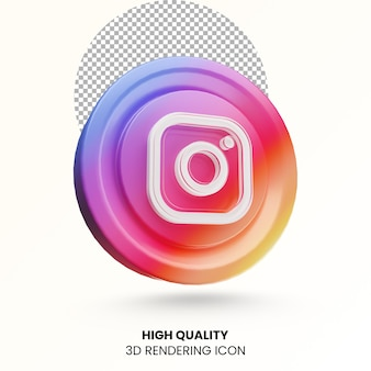 Instagramのソーシャルメディアのロゴアイコンをレンダリングする3d