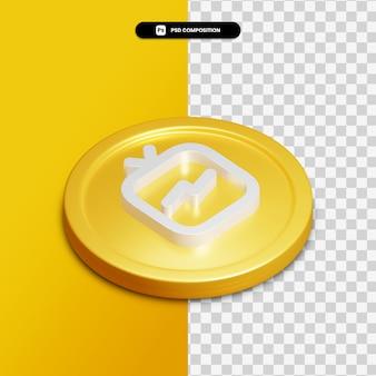分離された黄金の円の3dレンダリングinstagramのテレビアイコン