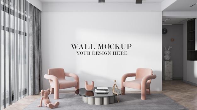 3d rendering interior empty wall mockup