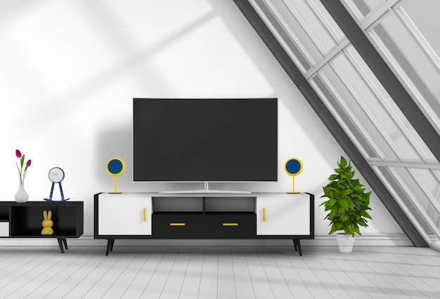 3d rendering of interior living room with smart tv