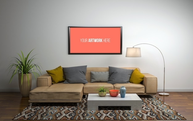 3d rendering of interior of modern living room with sofa, couch and table
