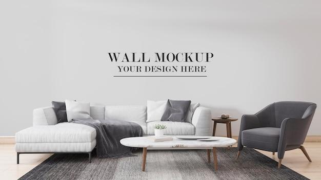 3d rendering interior scene wall mockup