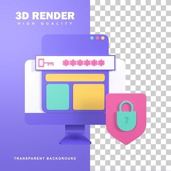 사이버 범죄로부터 보호하기 위한 3d 렌더링 인터넷 보안.