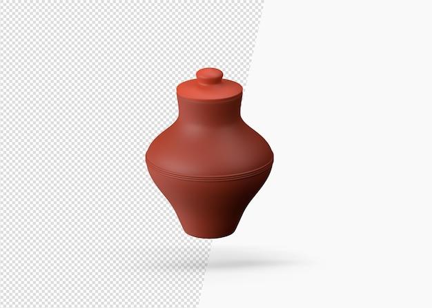 孤立した陶器の伝統的な植木鉢の3dレンダリング