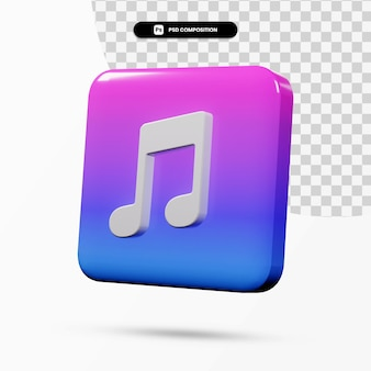 3d 렌더링 아이튠즈 로고 응용 프로그램 격리