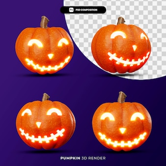 3d rendering of jack pumpkins lantern halloween concept with different angle isolated