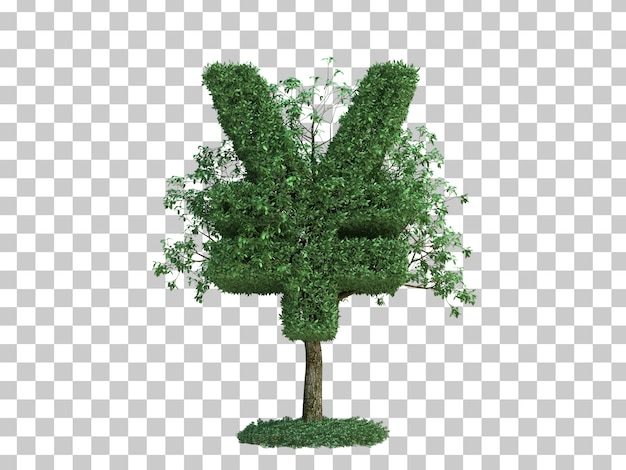 3d rendering of japan money symbol tree