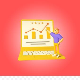 3d рендеринг ноутбука инфографики с иллюстрацией персонажа