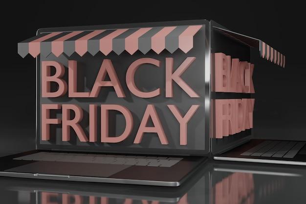 3d rendering laptop mockup for blackfriday promotion online shopping theme