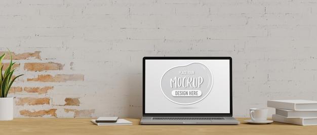 3d rendering of laptop mockup screen in office workspace