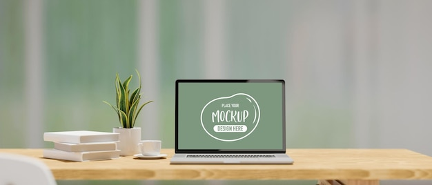 3d rendering of laptop mockup screen on wooden table