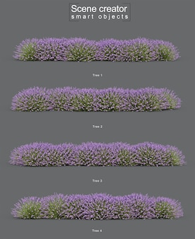 3d rendering of lavender tree scene creator