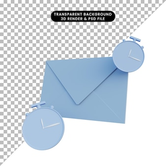 3d rendering letter with clock