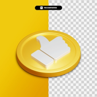 3d rendering like icon on golden circle isolated