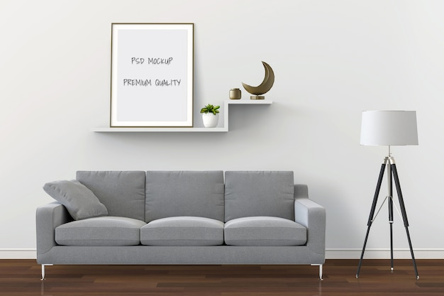 3d rendering of living room interior mockup blank poster