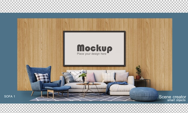3d rendering of a living room set with a sofa
