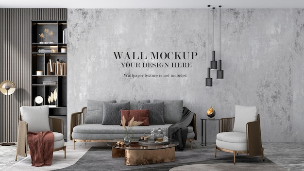 3d rendering living room wall background