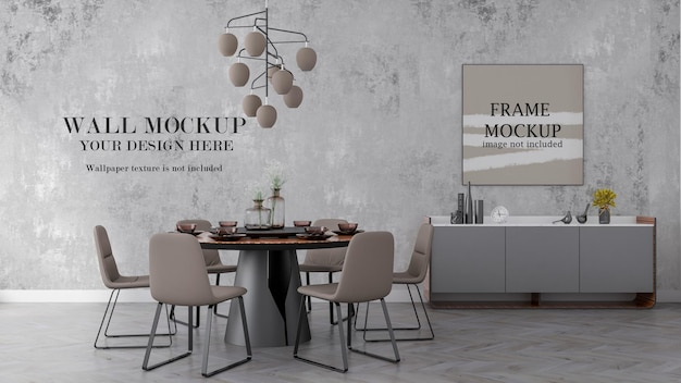 3d rendering living room wall and poster frame mockup