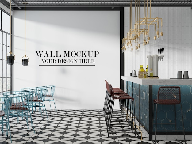 3d 렌더링 로프트 디자인 카페 벽 배경