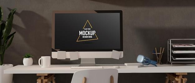 3d визуализация дизайн интерьера офисной комнаты в стиле лофт