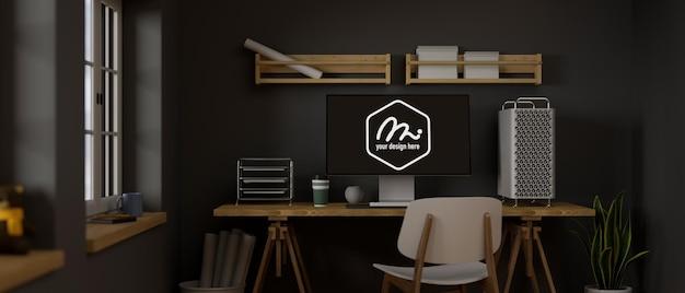 コンピューターモックアップを備えた3dレンダリングロフト作業室
