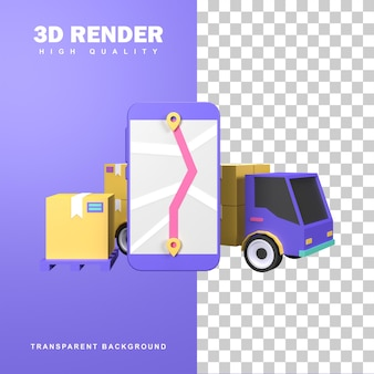 3d визуализация логистической концепции распределения транспортным грузовиком.