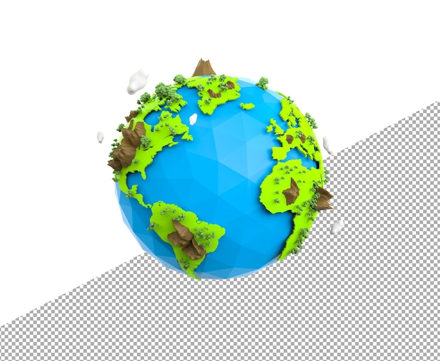3d rendering low poly earth globe illustration