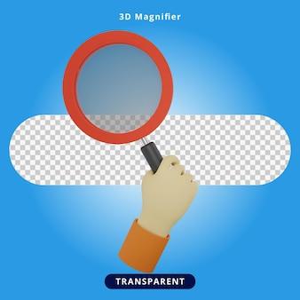 3d rendering magnifier illustration