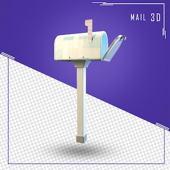 3d rendering mailbox letters isolated
