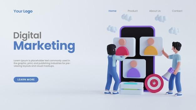男性と女性のキャラクターの3dレンダリングオンラインデジタルマーケティングコンセプトランディングページpsdテンプレート