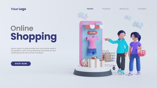 3d rendering man and woman screen smartphone online shopping concept landing page psd template