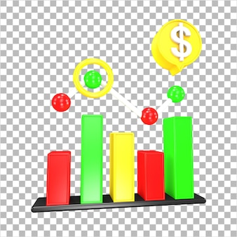 3d rendering market analytics 3d object isolated