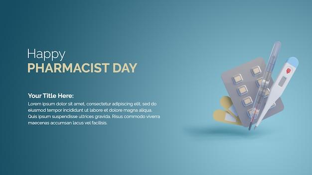 Happypharmacist의 날을 위한 3d 렌더링 의료 액세서리