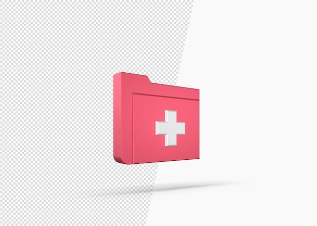 Значок папки медицинской карты 3d рендеринга
